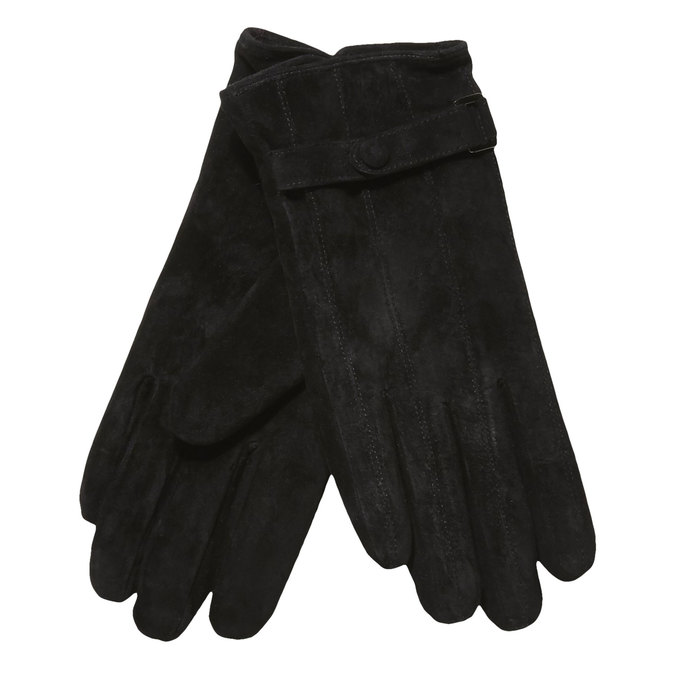 Ladies' leather gloves with a strip bata, black , 903-6100 - 13