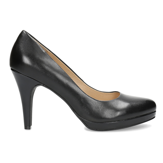 Black leather pumps insolia, black , 724-6104 - 19