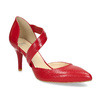 Leather pumps with T-strap, red , 724-5904 - 13