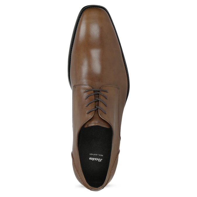 Brown Leather Derby Shoes bata, brown , 826-3646 - 17