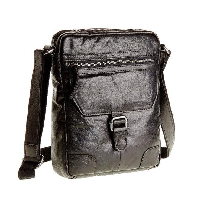 Leather Crossbody bag bata, black , 964-6180 - 13