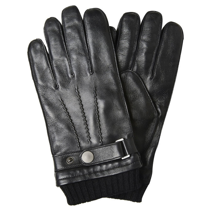 Men's leather gloves bata, black , 904-6127 - 13