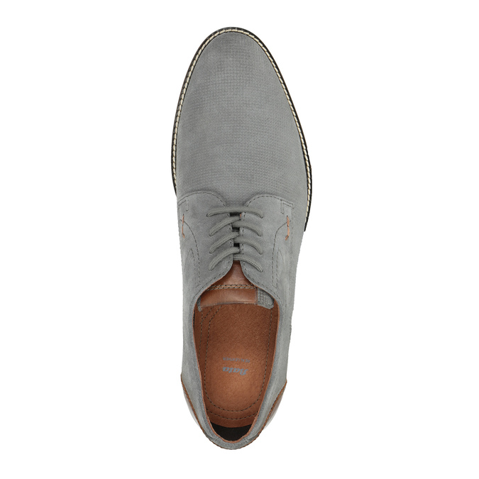 Casual grey leather shoes bata, gray , 823-2600 - 19
