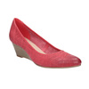 Leather pumps on a platform bata, red , 626-5638 - 13