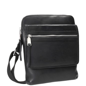 Men's leather crossbody bag bata, black , 964-6237 - 13