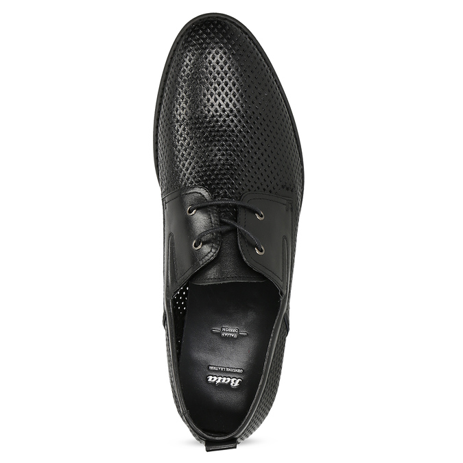 Leather shoes with perforations, black , 854-6601 - 17
