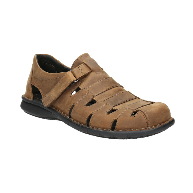 Men's brown leather sandals bata, brown , 864-4600 - 13