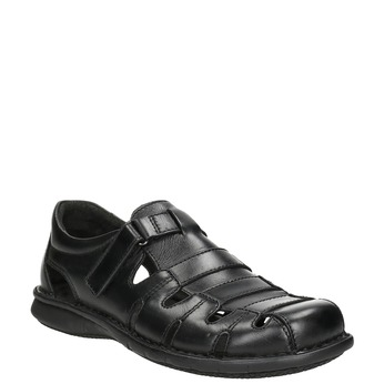 Men's black leather sandals bata, black , 864-6600 - 13