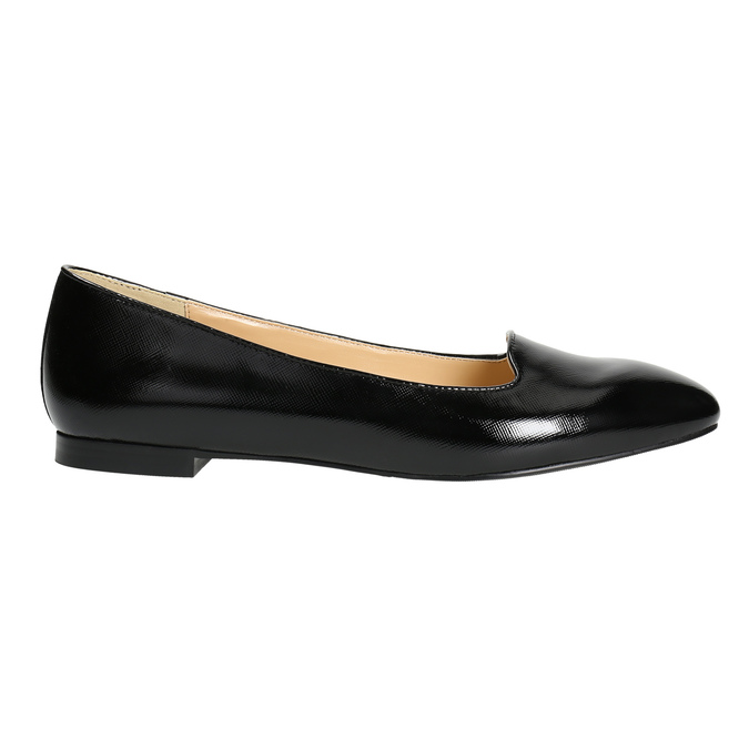 Ladies' leather ballerinas bata, black , 528-6630 - 15