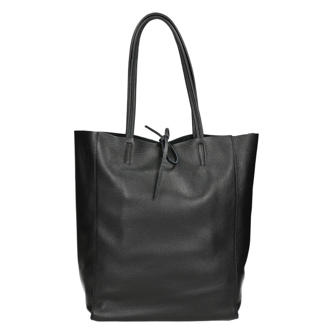 Leather handbag v Shopper style, black , 964-6122 - 26