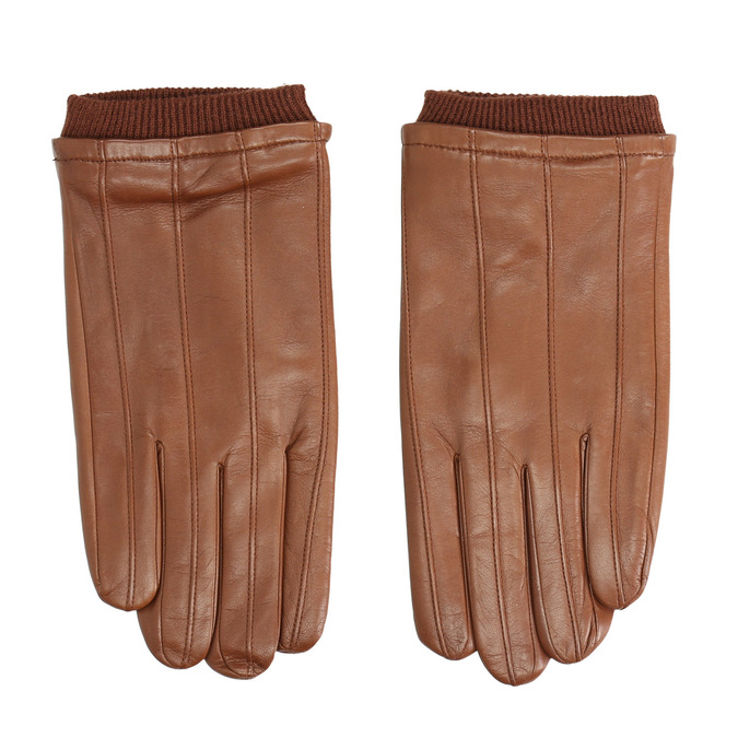 Brown leather gloves, brown , 904-3117 - 26
