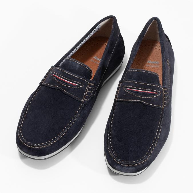Brushed leather moccasins bata, blue , 853-9614 - 16